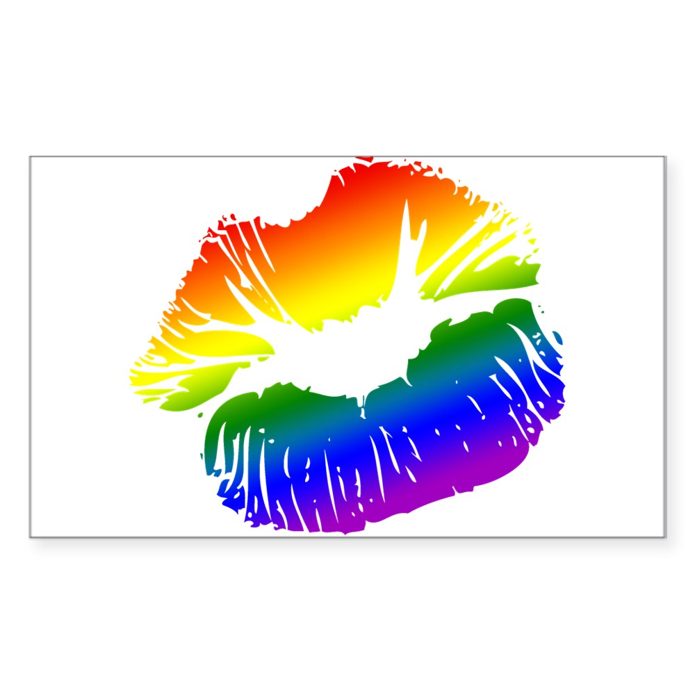 LGBT Love Rainbow Pride Kissing Lips Rectangle Sticker