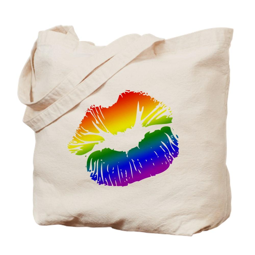 LGBT Love Rainbow Pride Kissing Lips Tote Bag