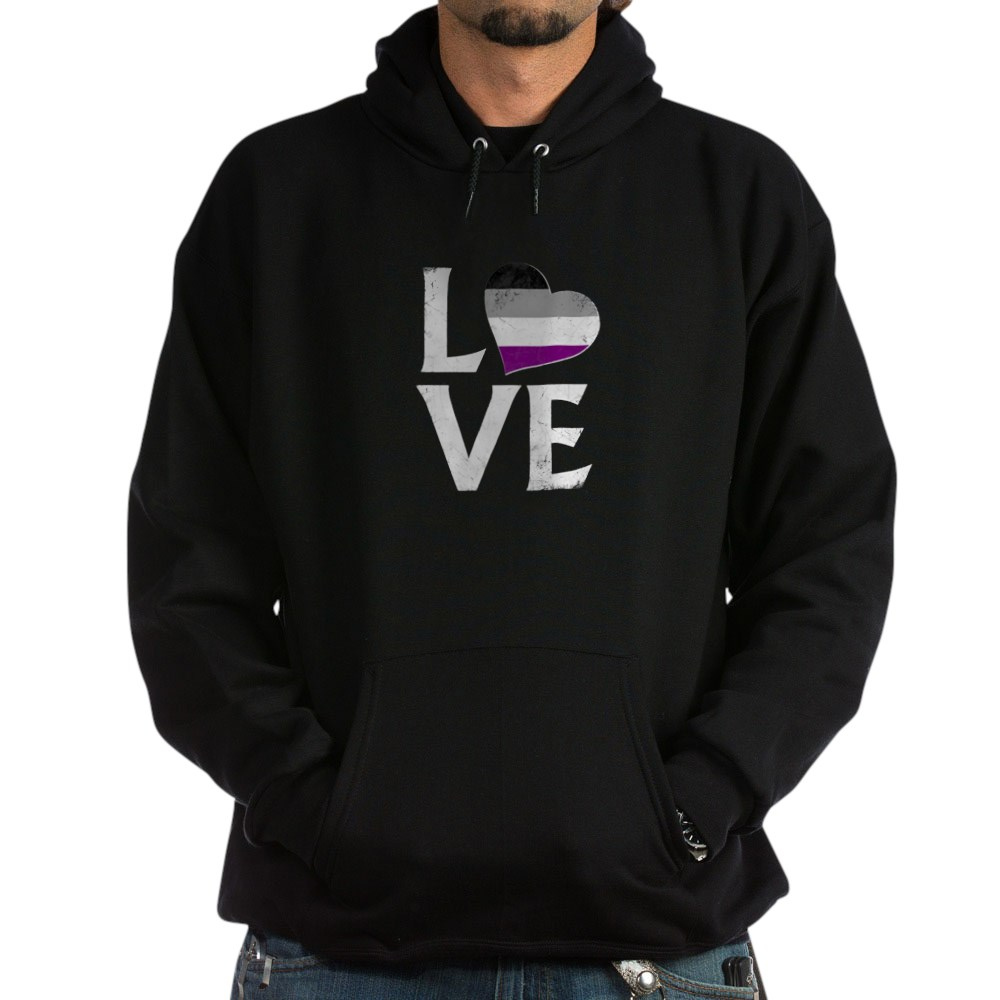 Asexual Pride Flag Heart Stacked Love Dark Hoodie
