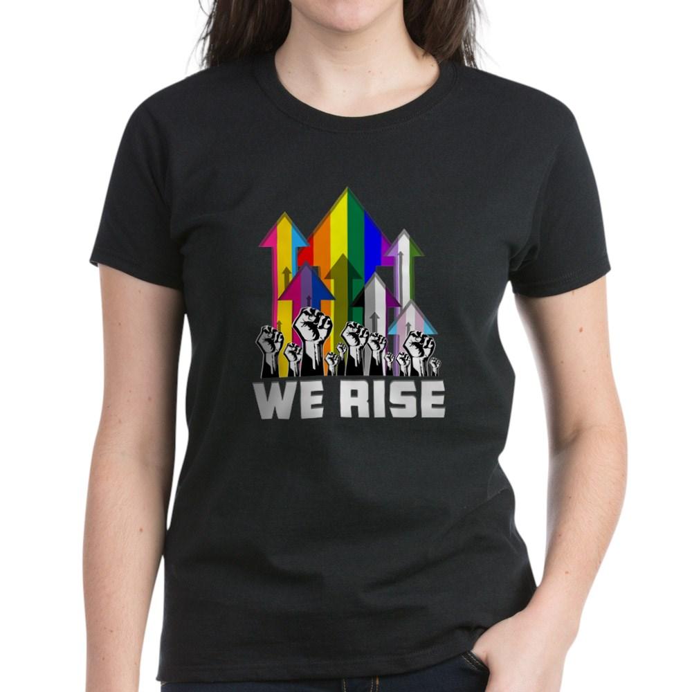 We Rise LGBTQIA Pride Flags Women's Dark T-Shirt