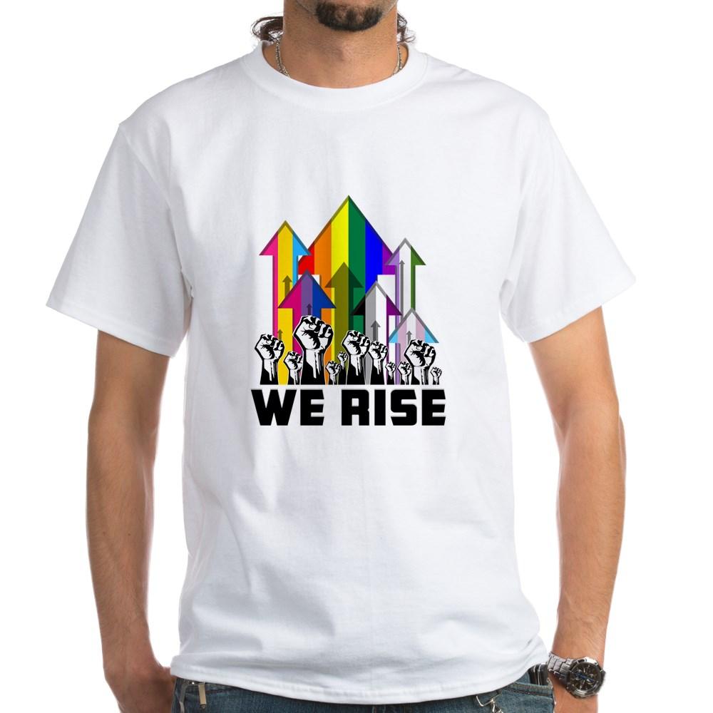 We Rise LGBTQIA Pride Flags White T-Shirt