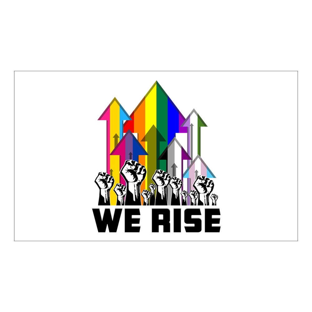We Rise LGBTQIA Pride Flags Rectangle Sticker