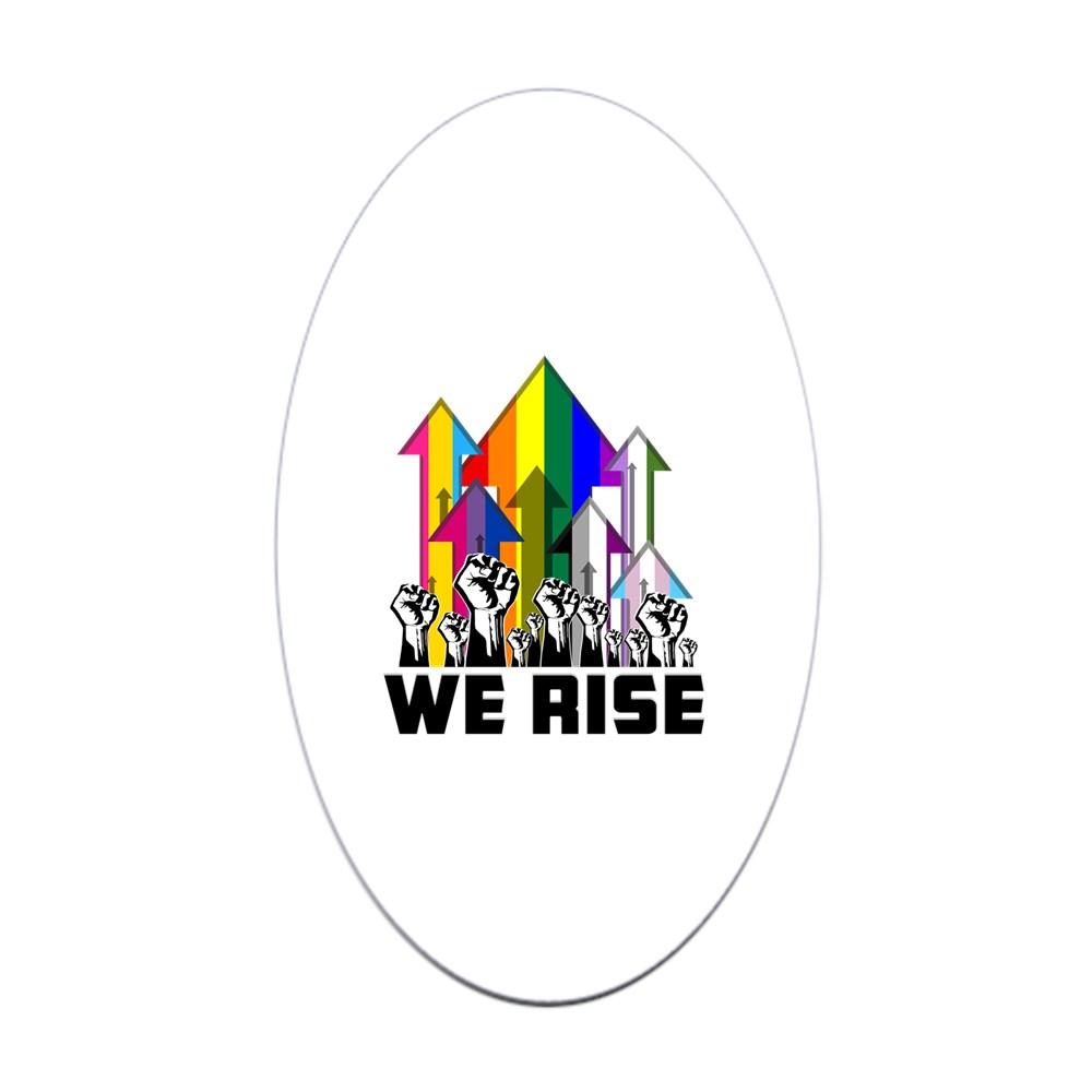 We Rise LGBTQIA Pride Flags Oval Sticker