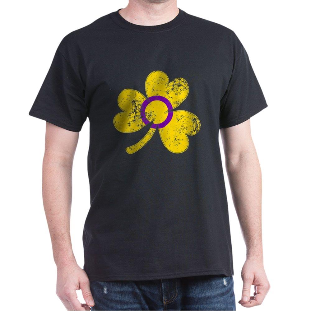Intersex Shamrock Pride Flag Dark T-Shirt