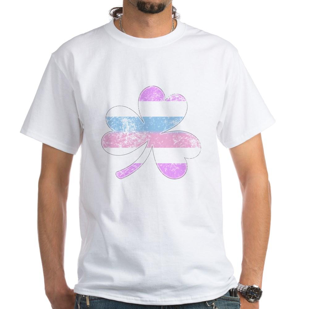 Bigender Shamrock Pride Flag White T-Shirt