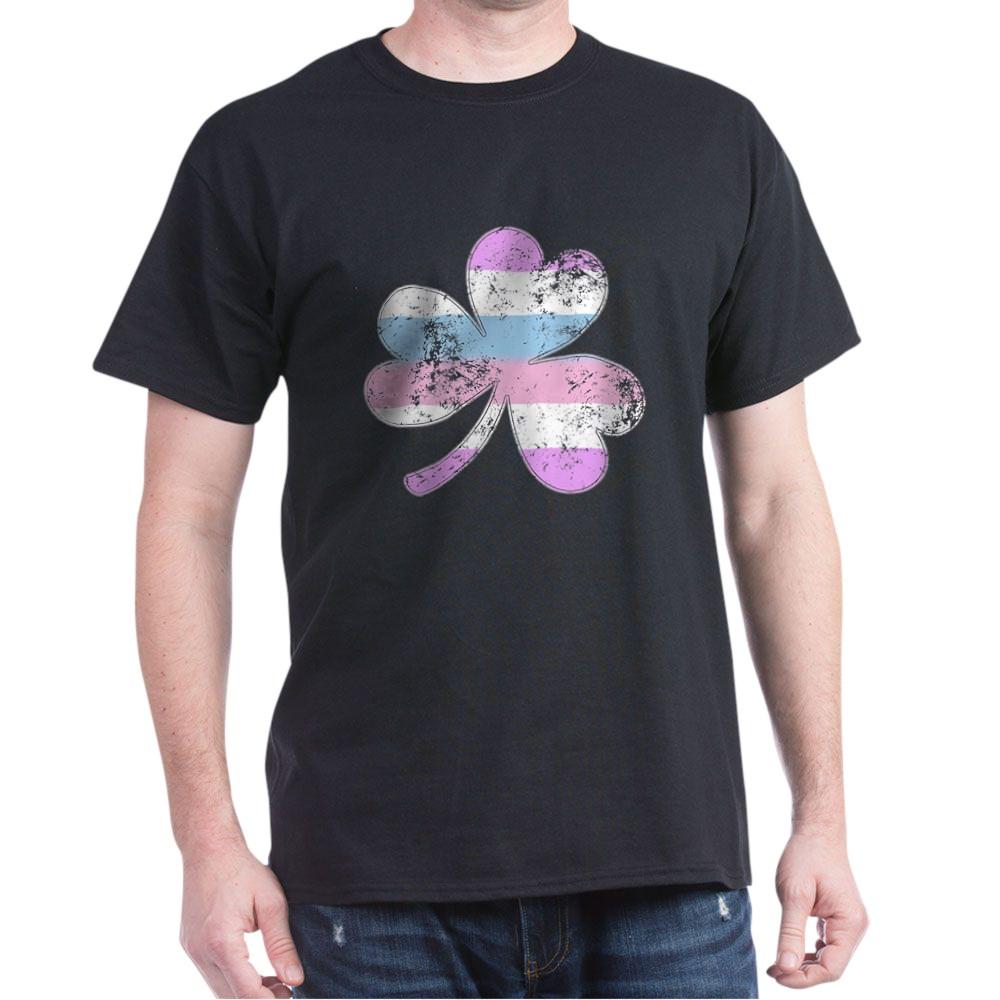 Bigender Shamrock Pride Flag Dark T-Shirt