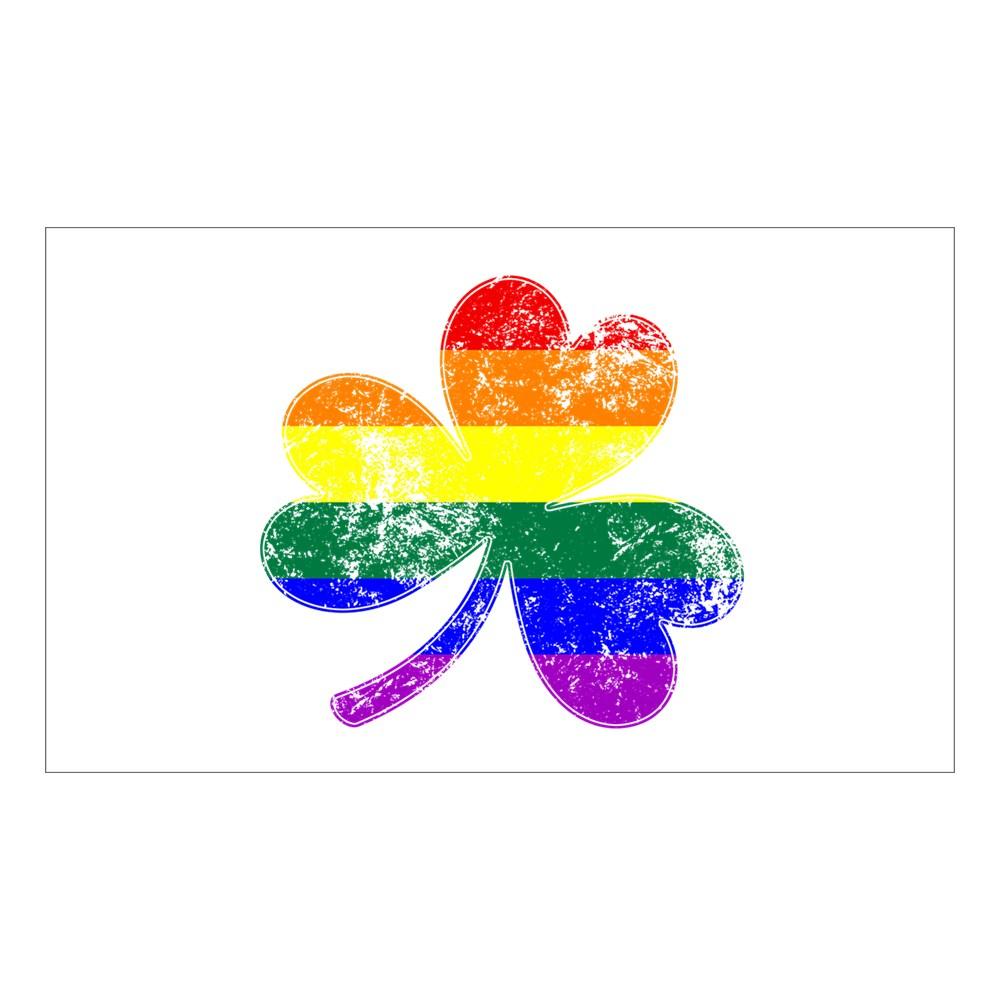 LGBTQ Shamrock Pride Flag Rectangle Sticker