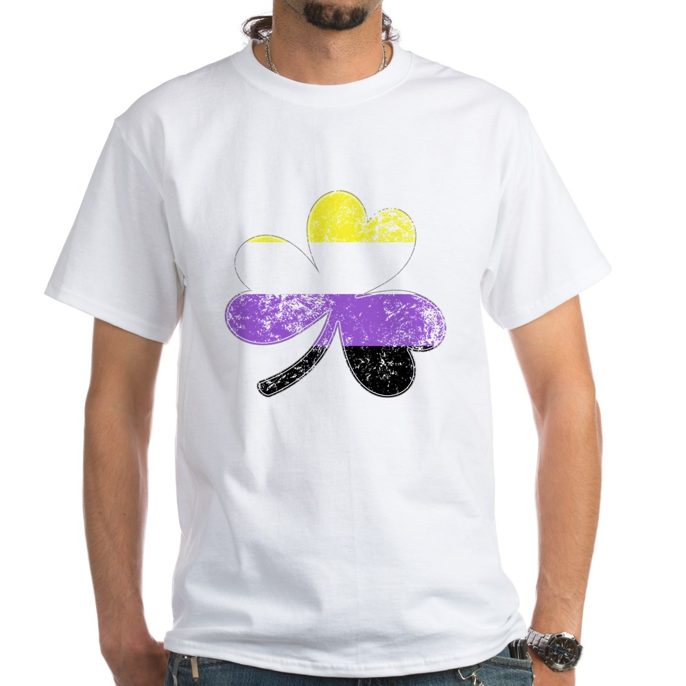 Nonbinary Shamrock Pride Flag White T-Shirt