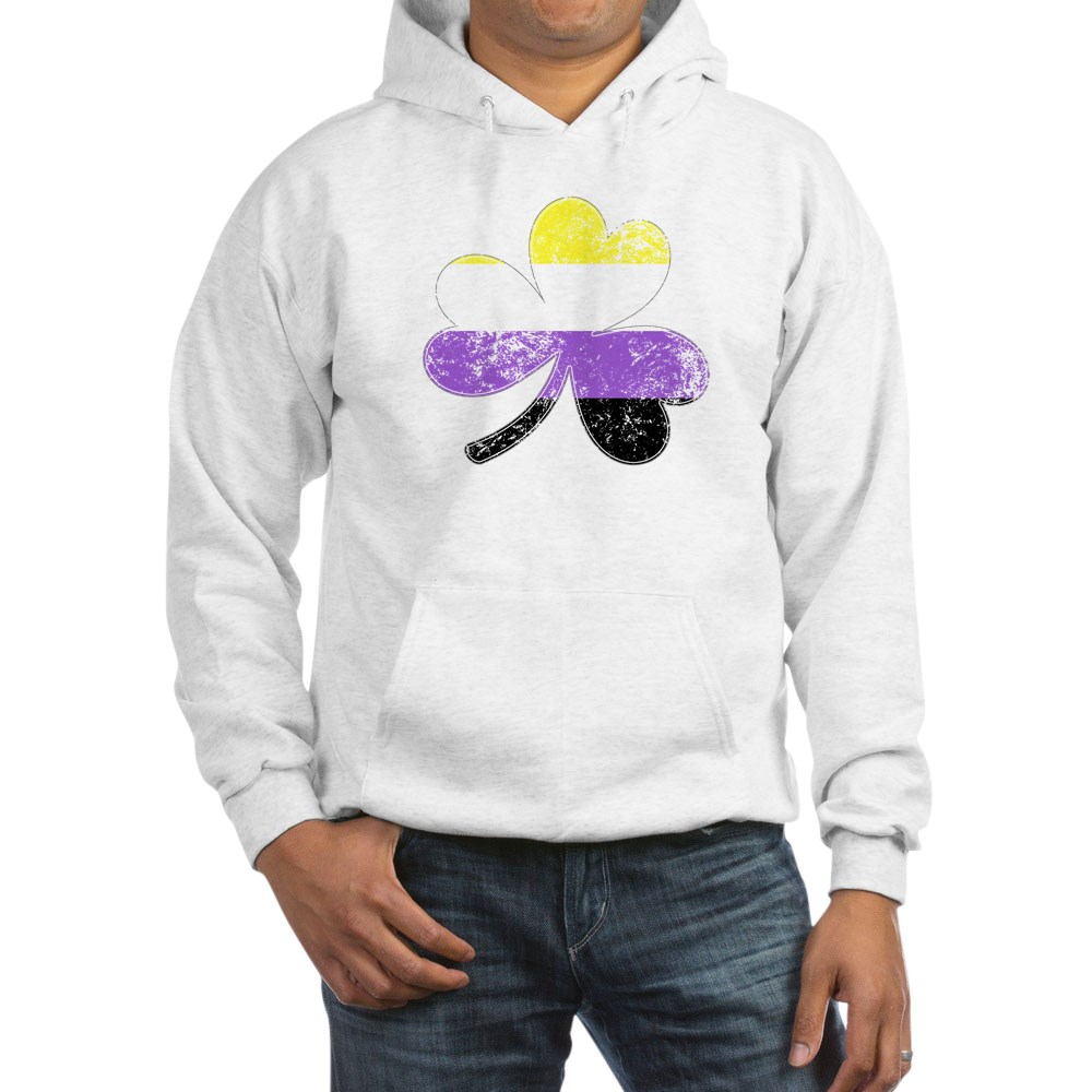 Nonbinary Shamrock Pride Flag Hooded Sweatshirt