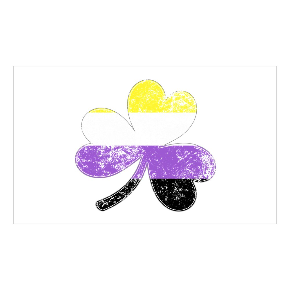 Nonbinary Shamrock Pride Flag Rectangle Sticker