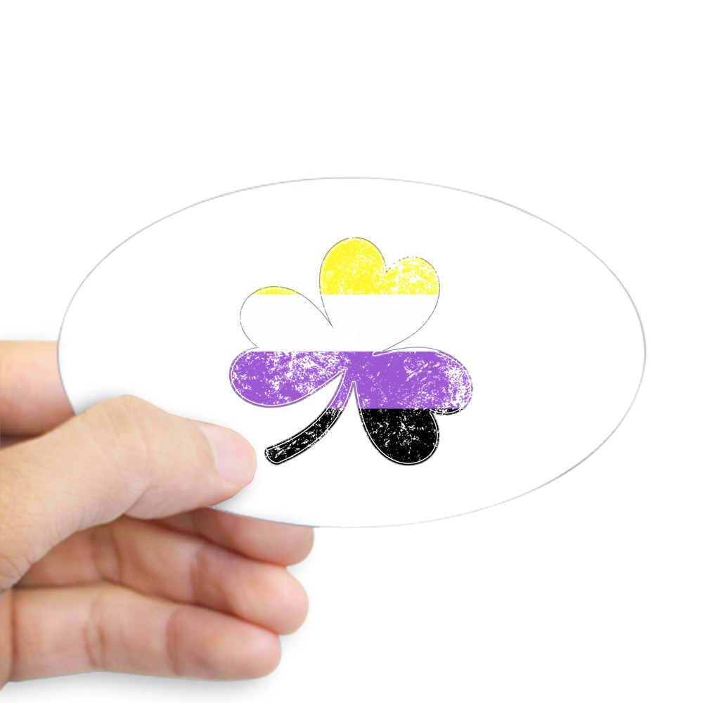 Nonbinary Shamrock Pride Flag Oval Sticker