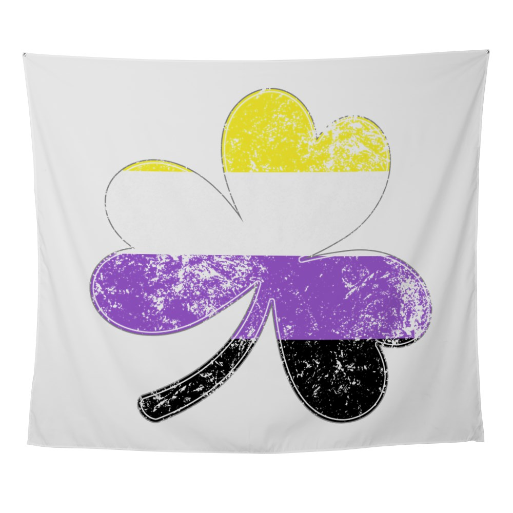 Nonbinary Shamrock Pride Flag Wall Tapestry