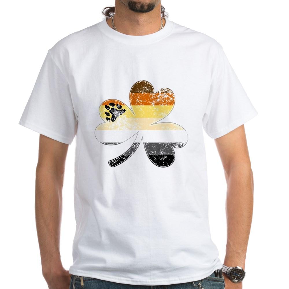 Gay Bear Shamrock Pride Flag White T-Shirt