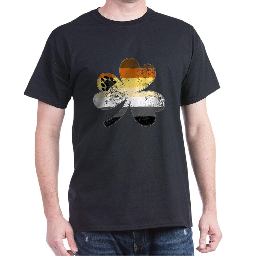 Gay Bear Shamrock Pride Flag Dark T-Shirt