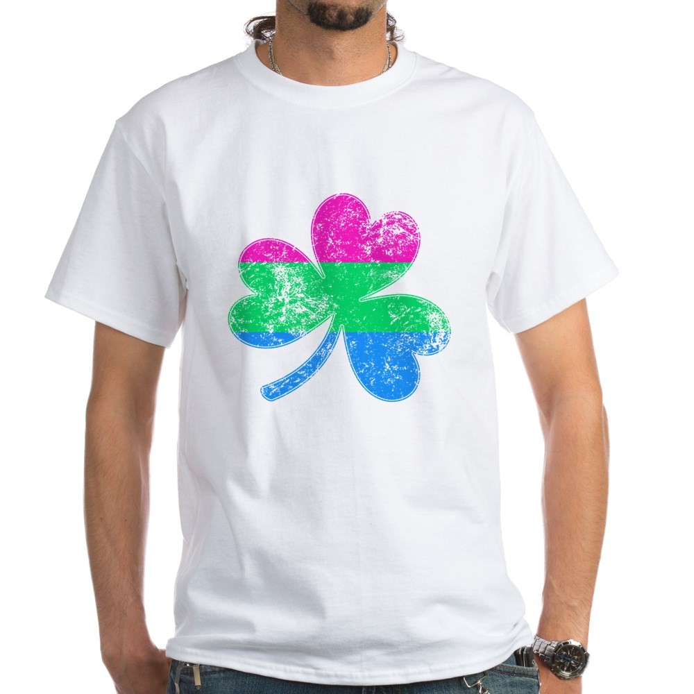 Polysexual Shamrock Pride Flag White T-Shirt