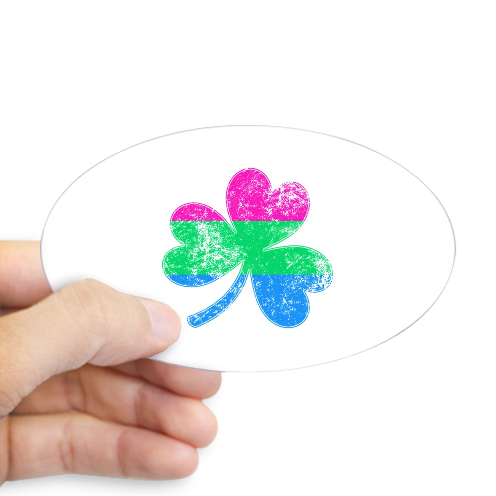 Polysexual Shamrock Pride Flag Oval Sticker