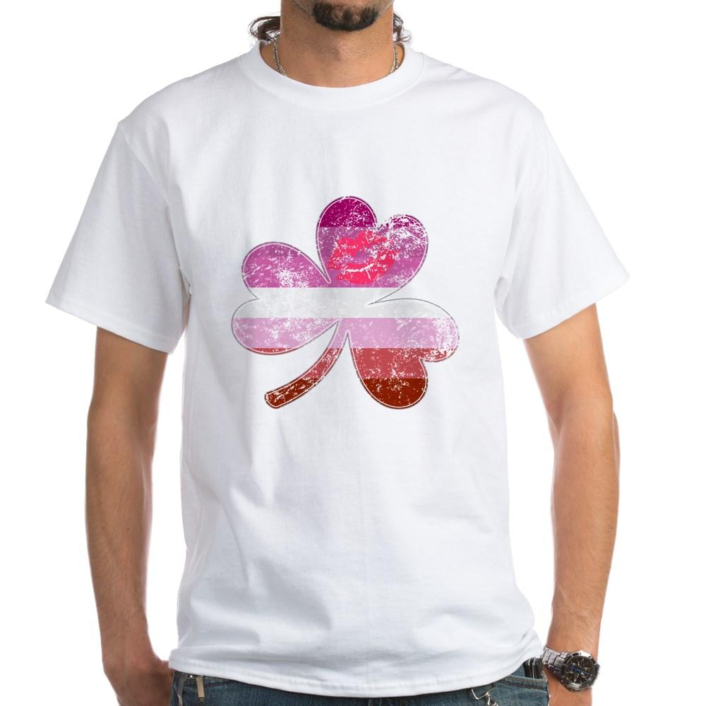 Lipstick Lesbian Shamrock Pride Flag White T-Shirt