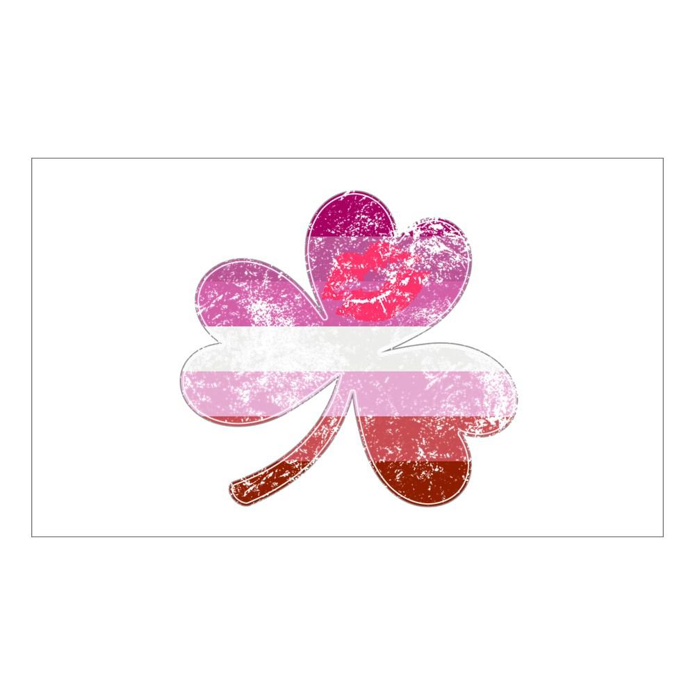 Lipstick Lesbian Shamrock Pride Flag Rectangle Sticker