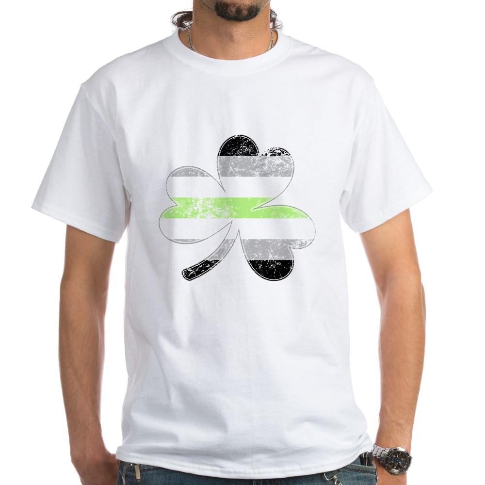 Agender Shamrock Pride Flag White T-Shirt