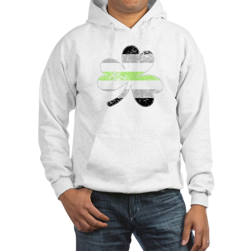 Agender Shamrock Pride Flag Hooded Sweatshirt