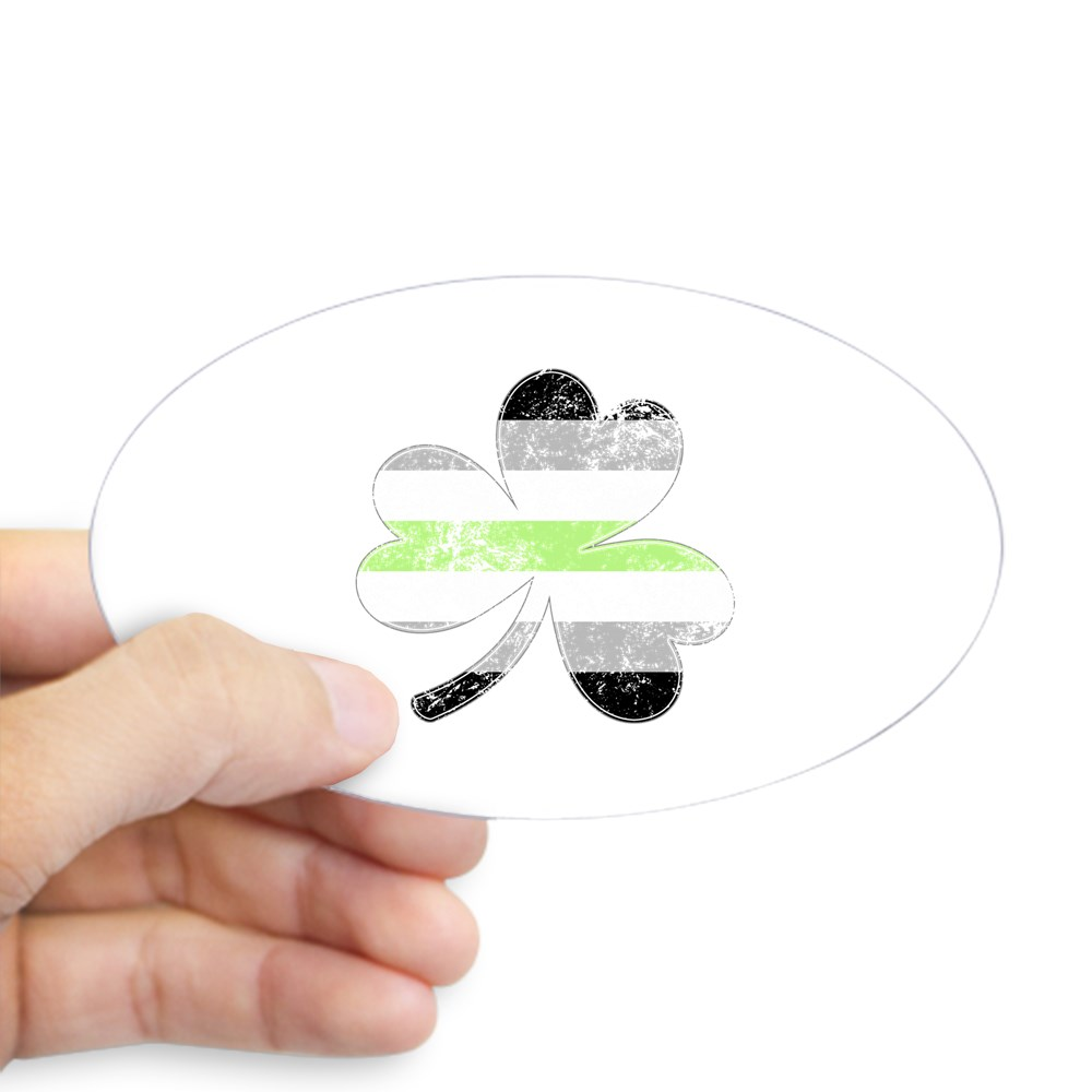 Agender Shamrock Pride Flag Oval Sticker
