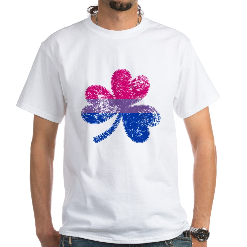 Bisexual Shamrock Pride Flag White T-Shirt
