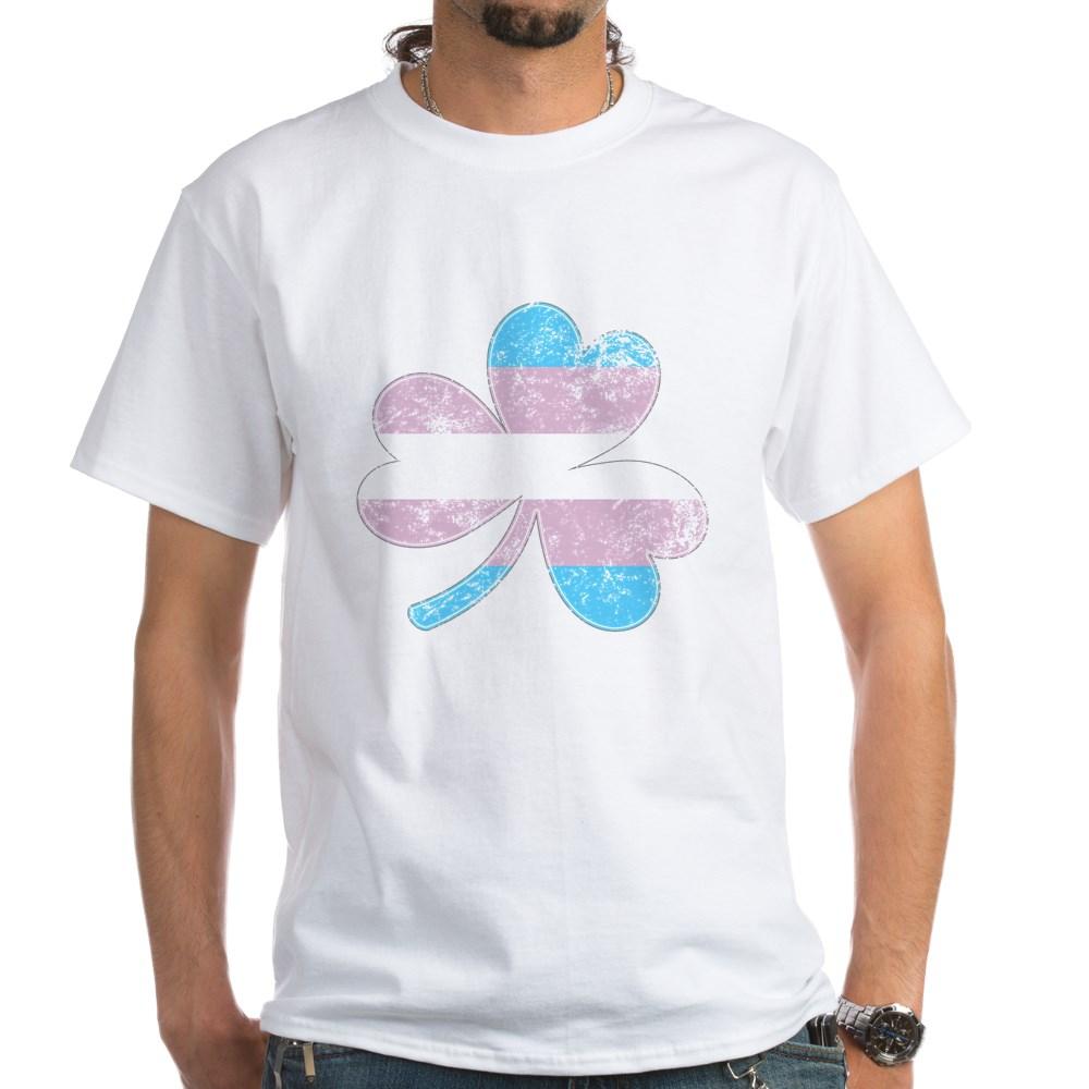 Transgender Shamrock Pride Flag White T-Shirt