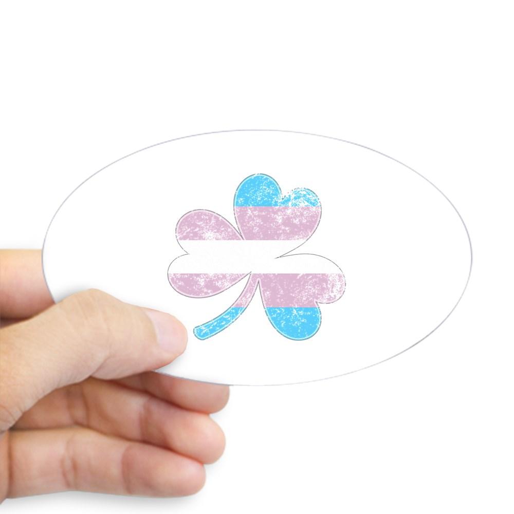Transgender Shamrock Pride Flag Oval Sticker