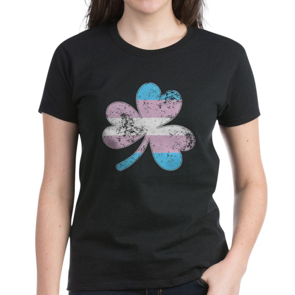 Transgender Shamrock Pride Flag Women's Dark T-Shirt