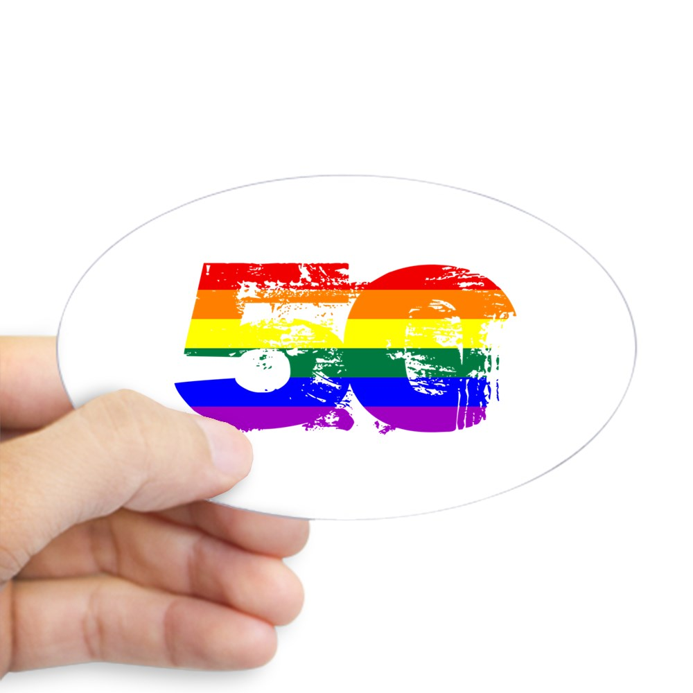 LGBTQ Grunge 50 Pride Flag Oval Sticker