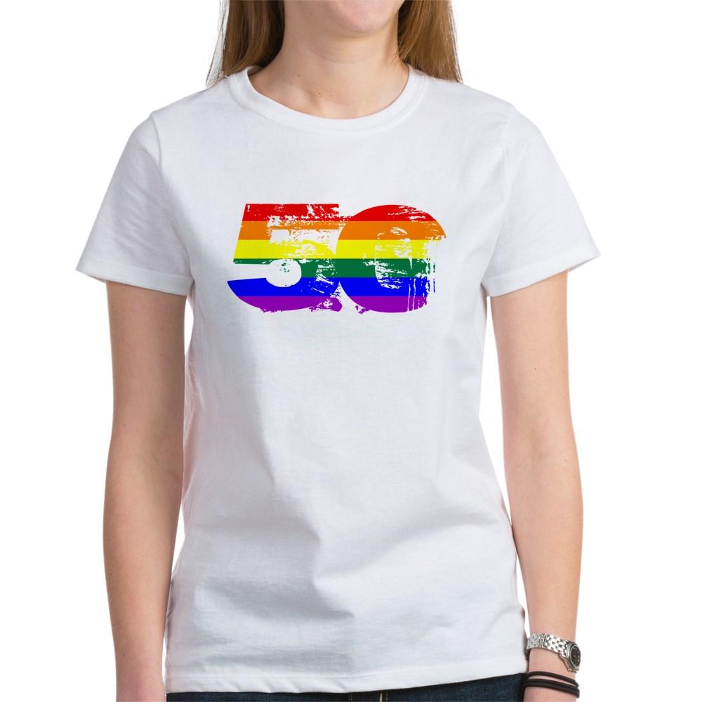 LGBTQ Grunge 50 Pride Flag Women's T-Shirt