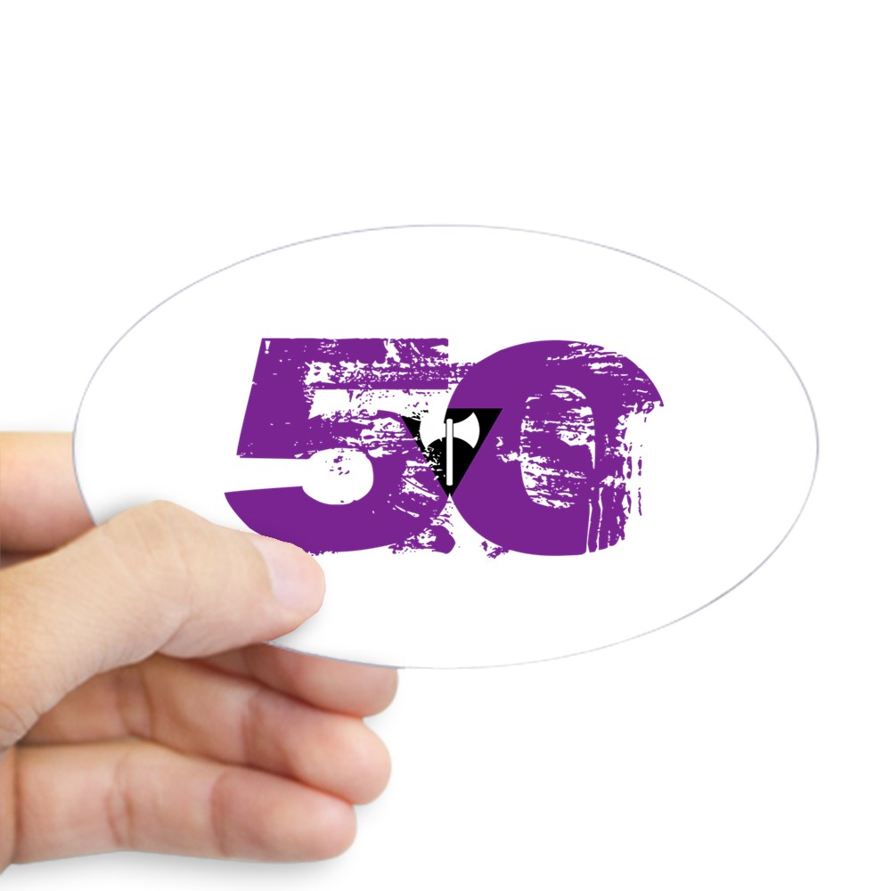 Lesbian Labrys Grunge 50 Pride Flag Oval Sticker