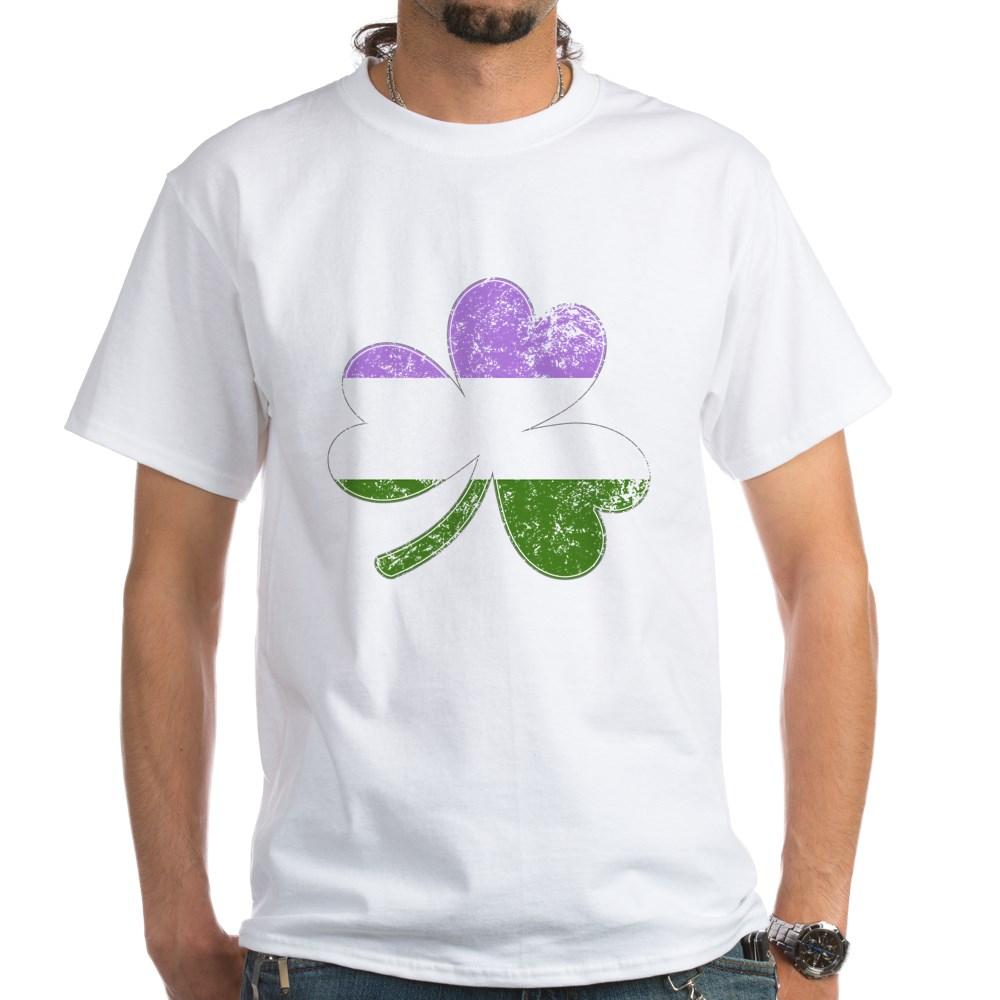 Genderqueer Shamrock Pride Flag White T-Shirt