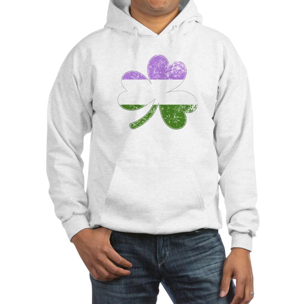 Genderqueer Shamrock Pride Flag Hooded Sweatshirt