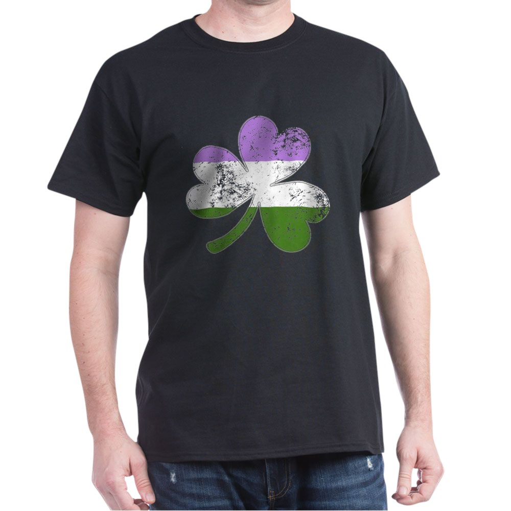 Genderqueer Shamrock Pride Flag Dark T-Shirt