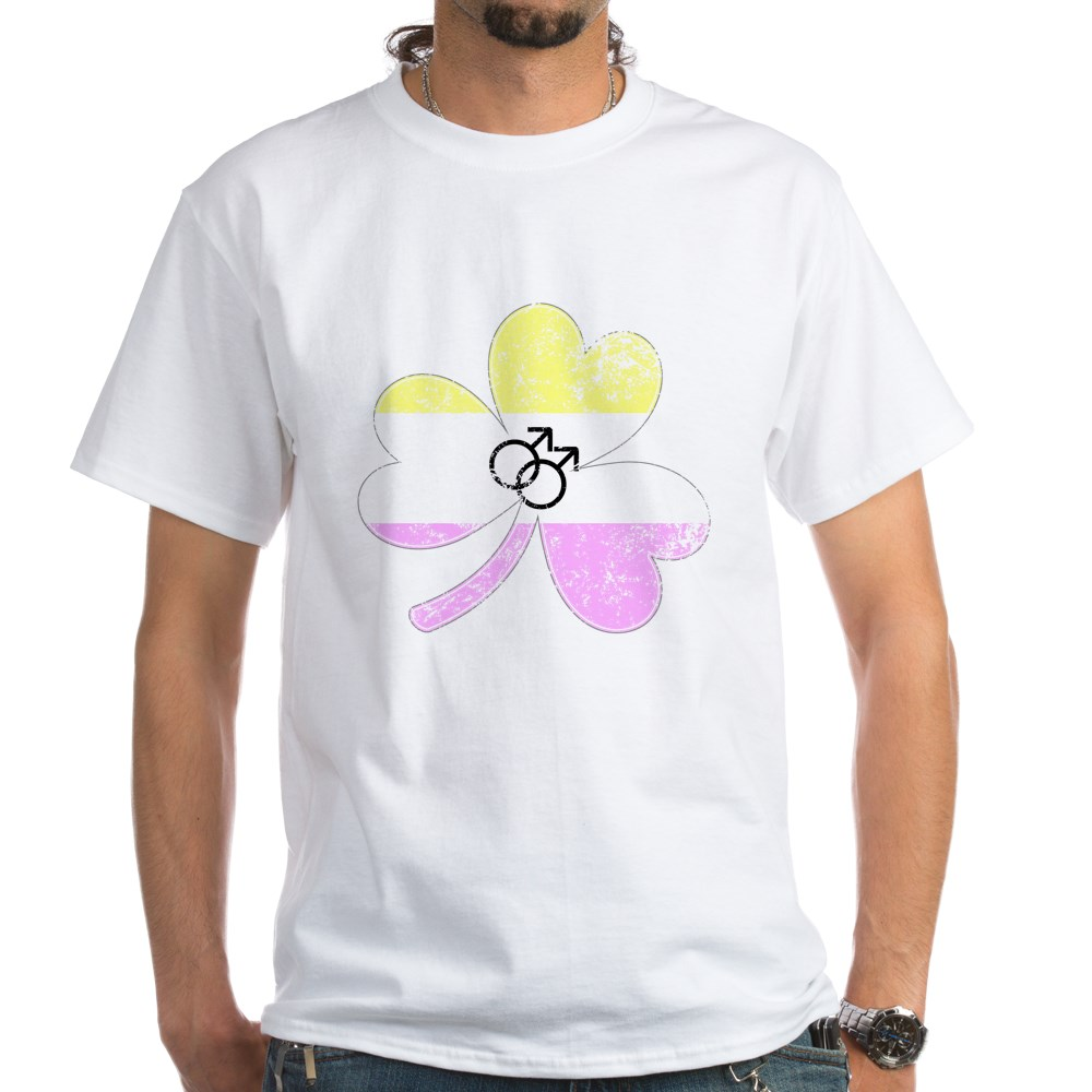 Gay Twink Shamrock Pride Flag White T-Shirt