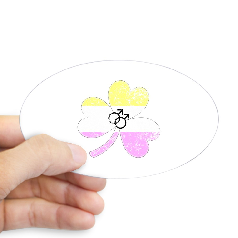 Gay Twink Shamrock Pride Flag Oval Sticker