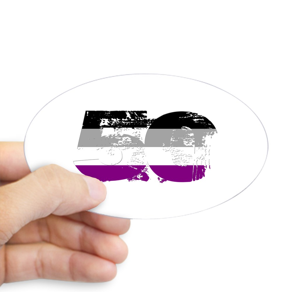 Asexual Grunge 50 Pride Flag Oval Sticker