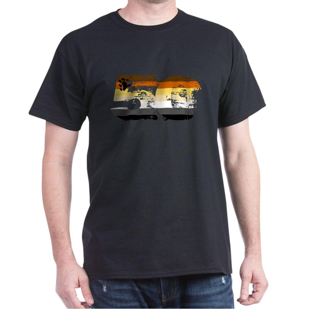 Gay Bear Grunge 50 Pride Flag Dark T-Shirt