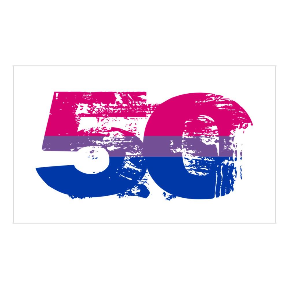 Bisexual Grunge 50 Pride Flag Rectangle Sticker