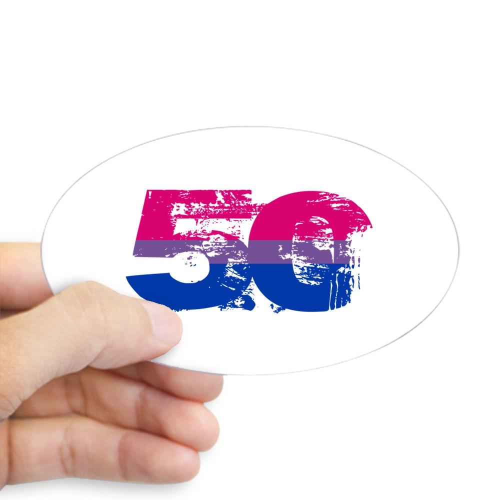 Bisexual Grunge 50 Pride Flag Oval Sticker
