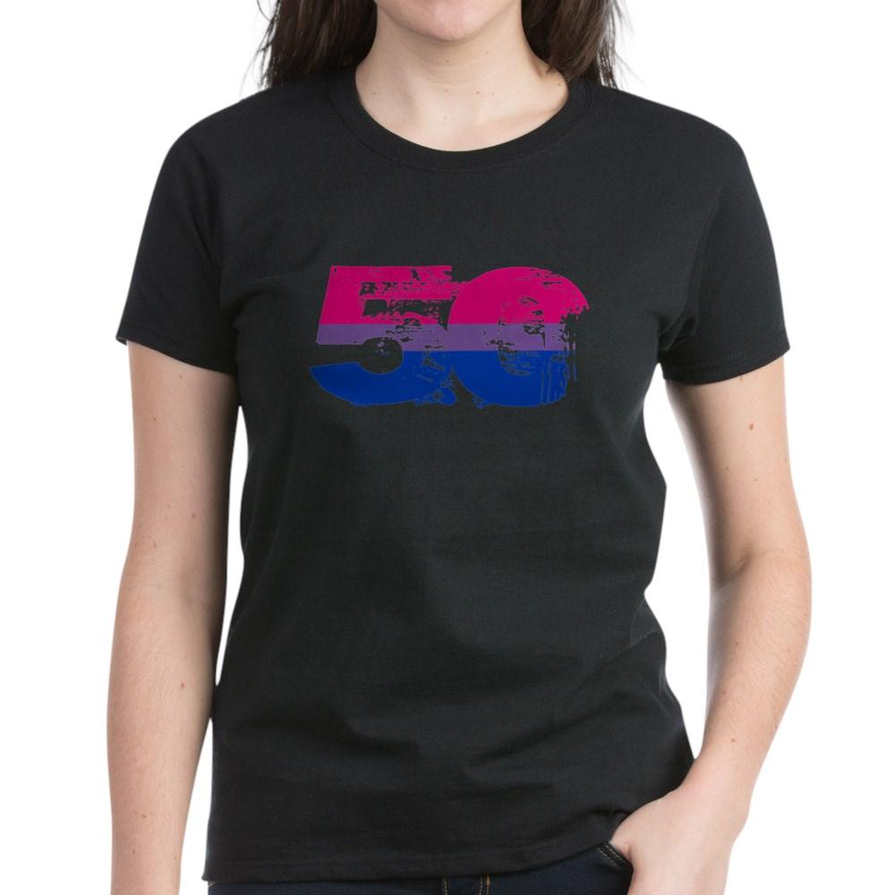 Bisexual Grunge 50 Pride Flag Women's Dark T-Shirt