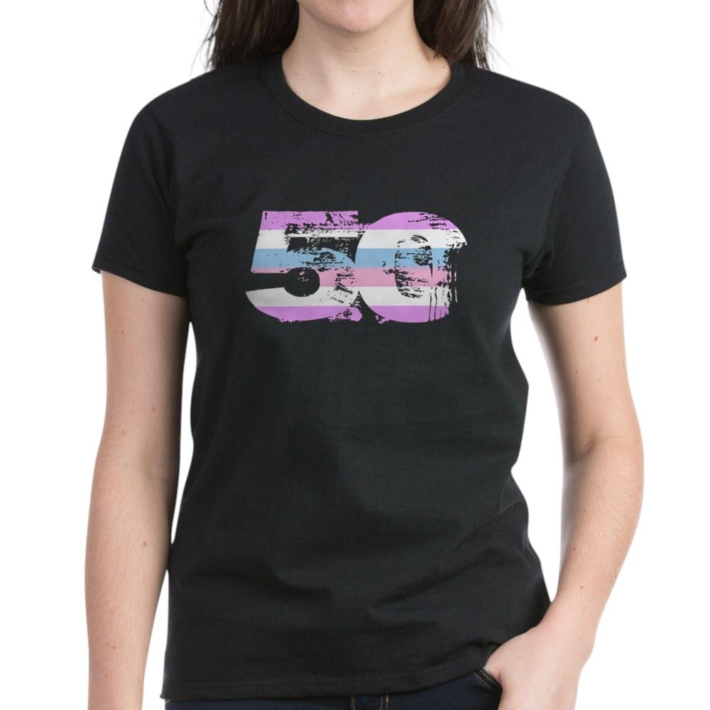 Bigender Grunge 50 Pride Flag Women's Dark T-Shirt