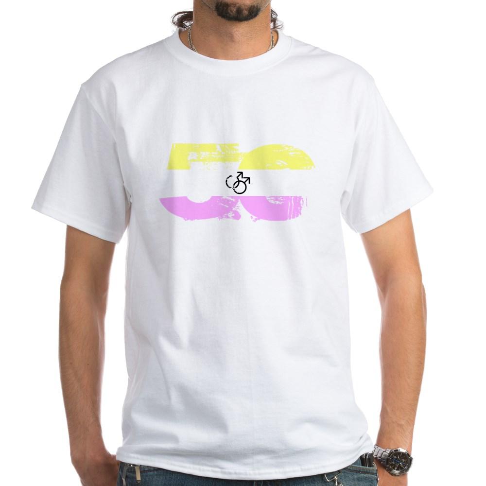 Gay Twink Grunge 50 Pride Flag White T-Shirt