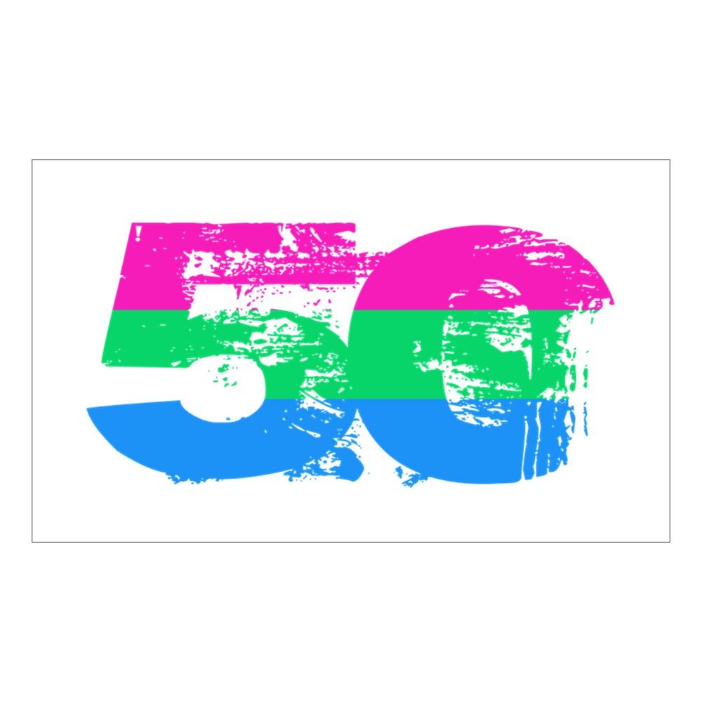 Polysexual Grunge 50 Pride Flag Rectangle Sticker