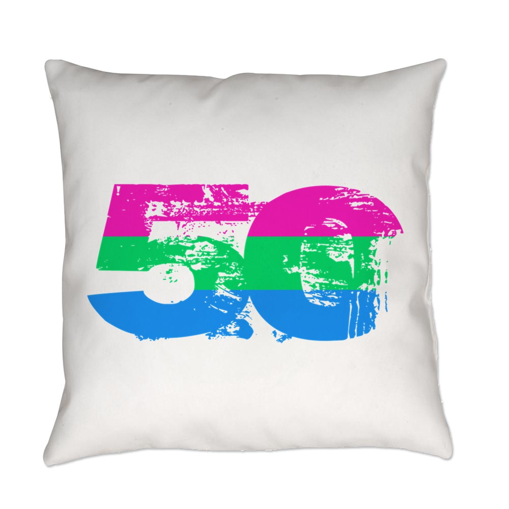 Polysexual Grunge 50 Pride Flag Everyday Pillow