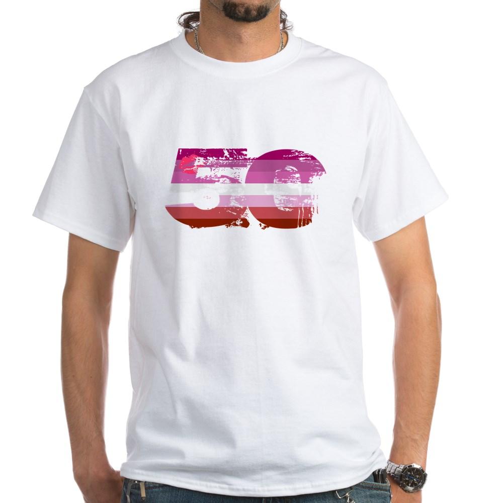 Lipstick Lesbian Grunge 50 Pride Flag White T-Shirt