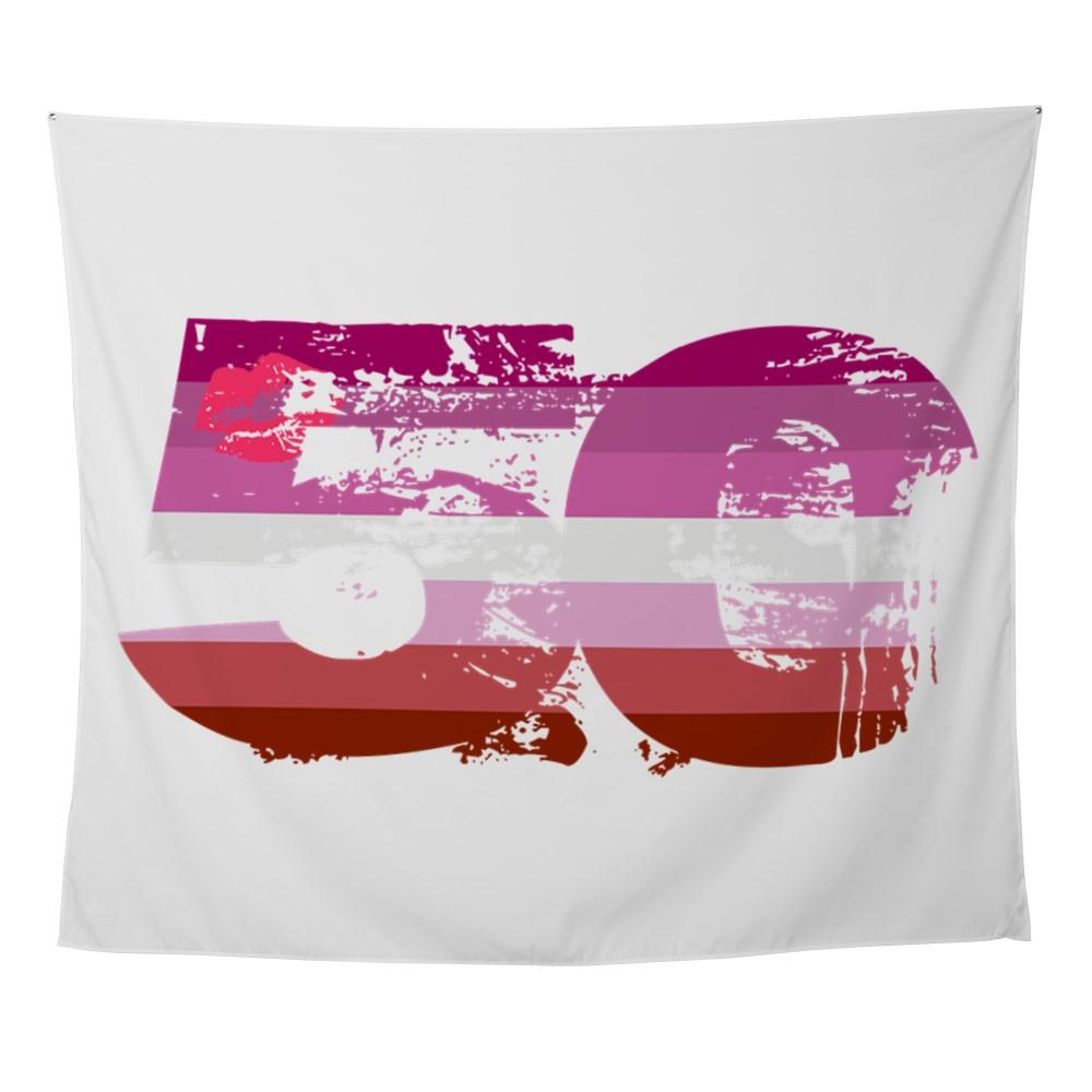 Lipstick Lesbian Grunge 50 Pride Flag Wall Tapestry