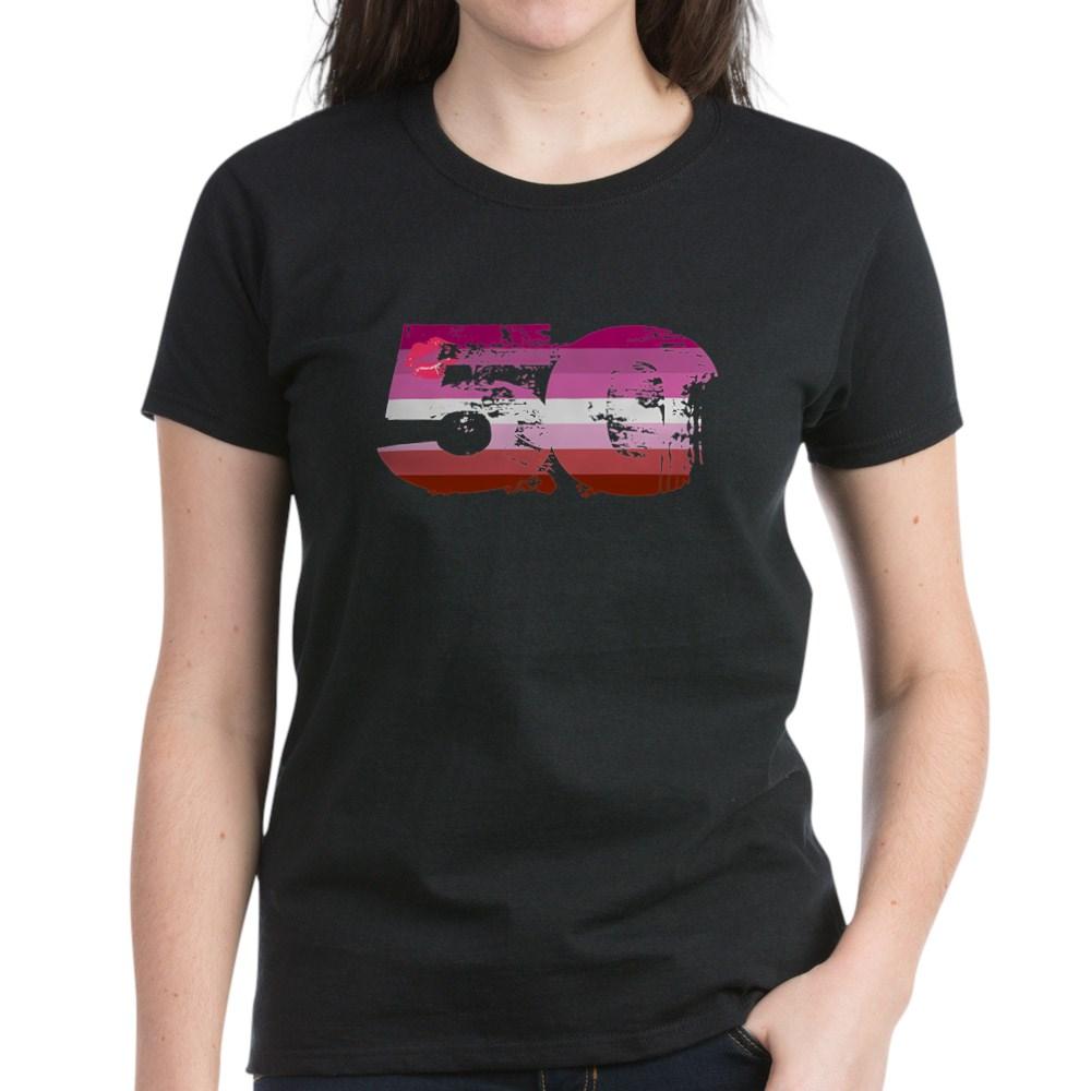 Lipstick Lesbian Grunge 50 Pride Flag Women's Dark T-Shirt