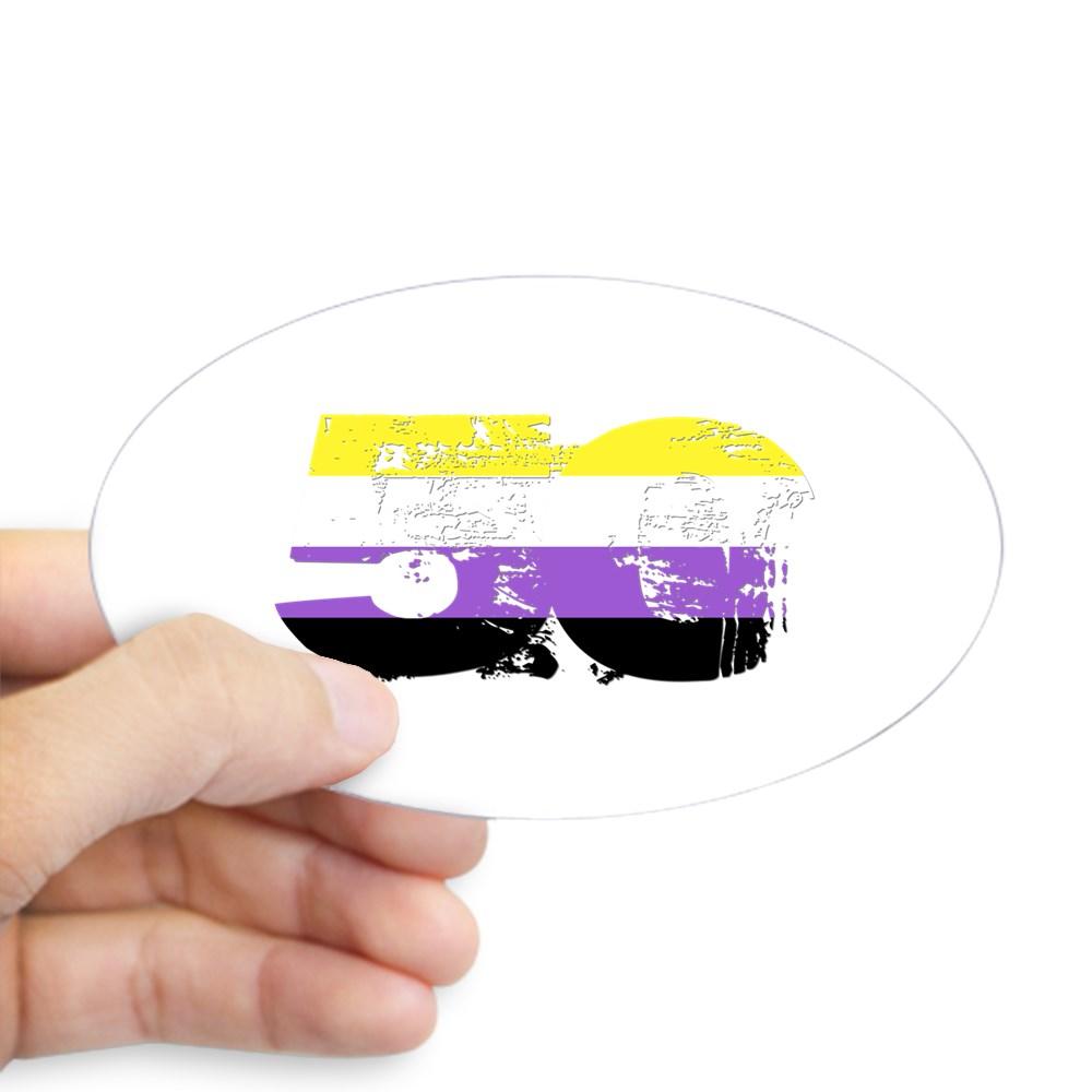 Nonbinary Grunge 50 Pride Flag Oval Sticker